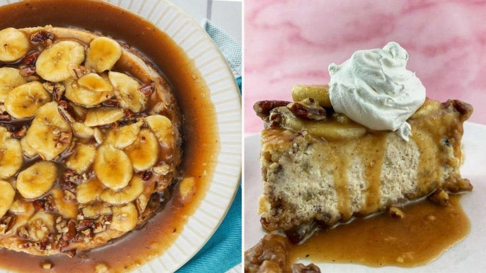 A full Bananas Foster Cheesecake and one slice on a plate topped with whipped cream.