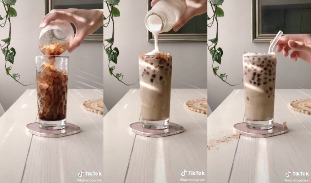 Three different photos of frozen coffee ice cubes are transformed into iced coffee using oat milk.