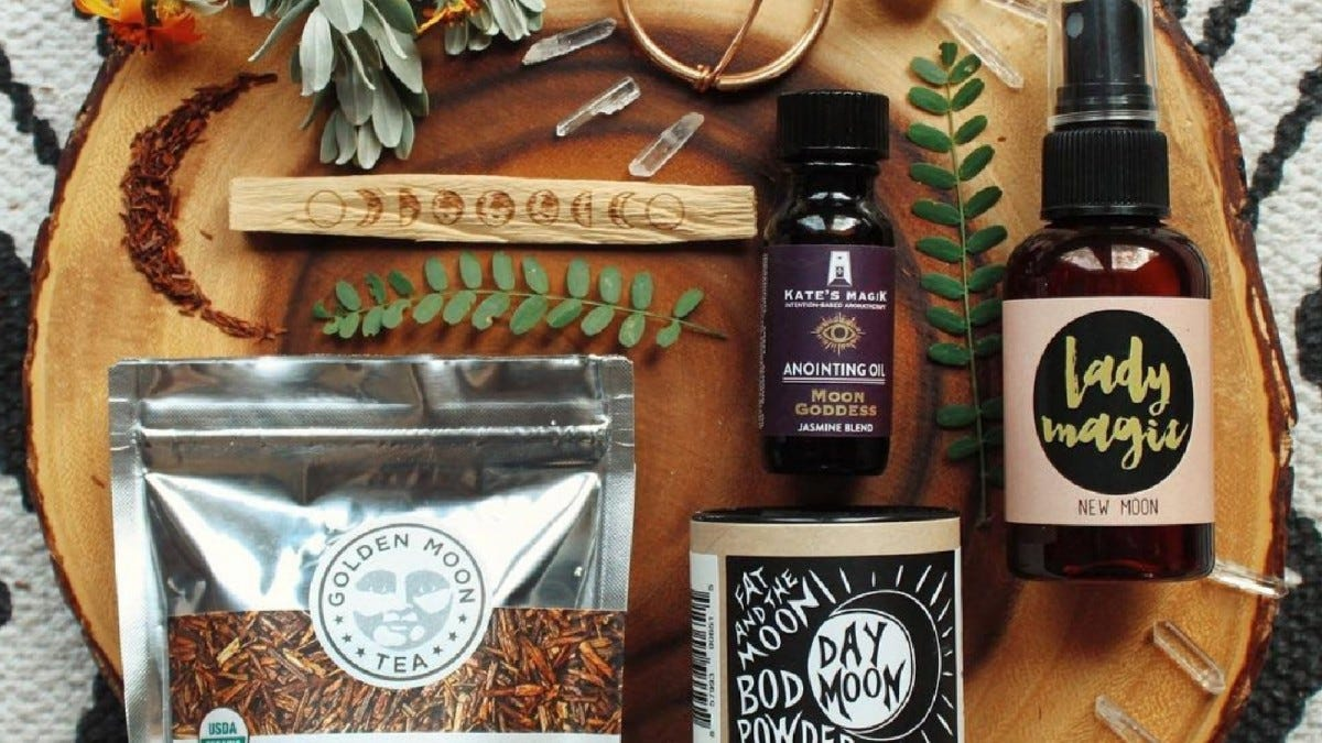 Examples of the oils, teas, and other products found in the Goddess Provisions box.