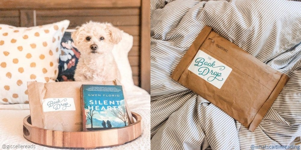 A split image with a Book Drop package, book, and a dog on a bed, and an unopened Book Drop package on a blanket.
