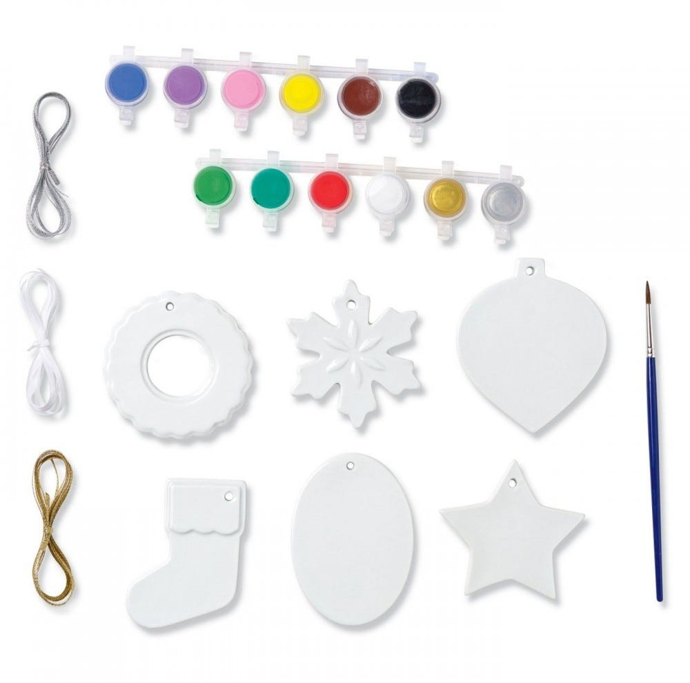 A kit for DIY Christmas ornaments is laid out on display.