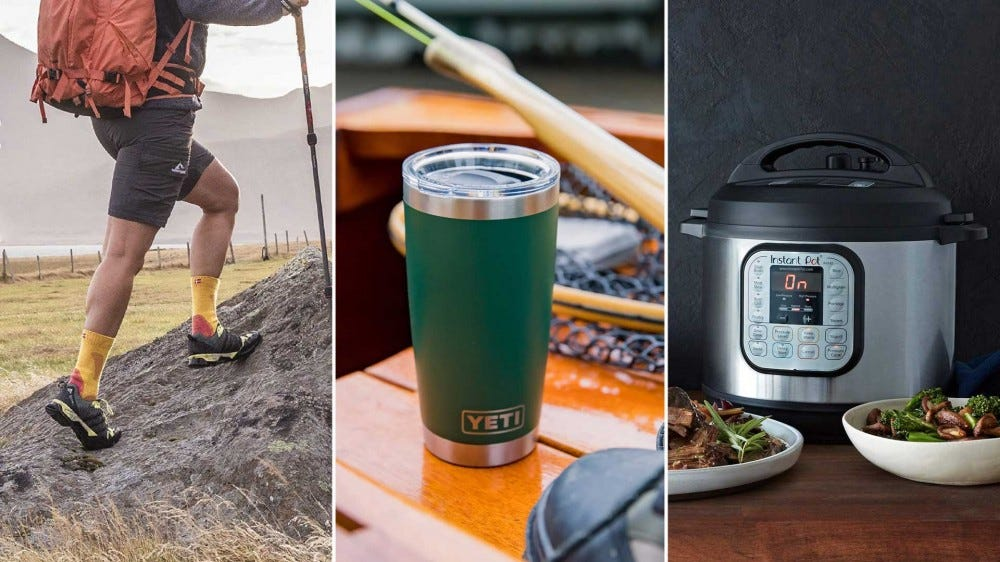 Gift ideas like hiking socks, a Yeti drink tumbler, and an Instant Pot pressure cooker.