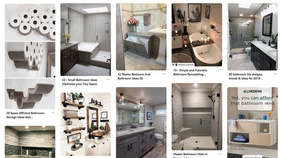 A Pinterest board with multiple pictures of different bathrooms.