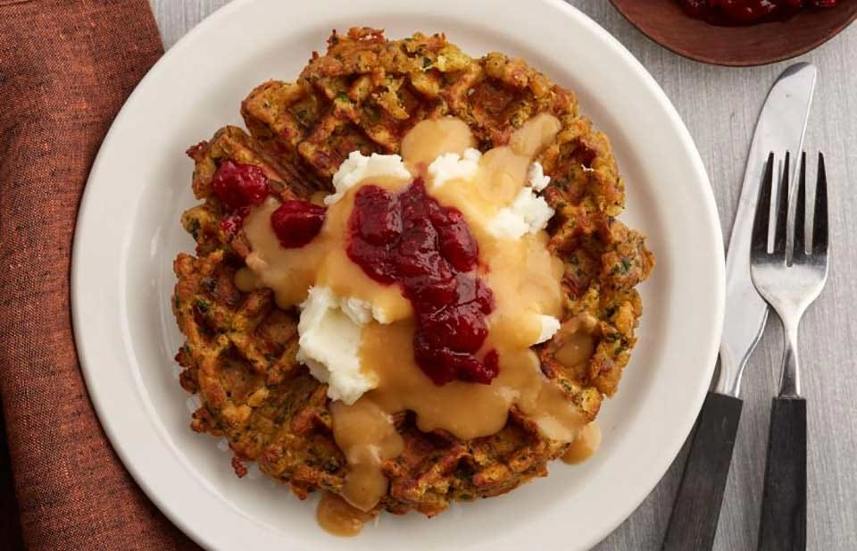 Thanksgiving stuffing leftovers turned into waffles