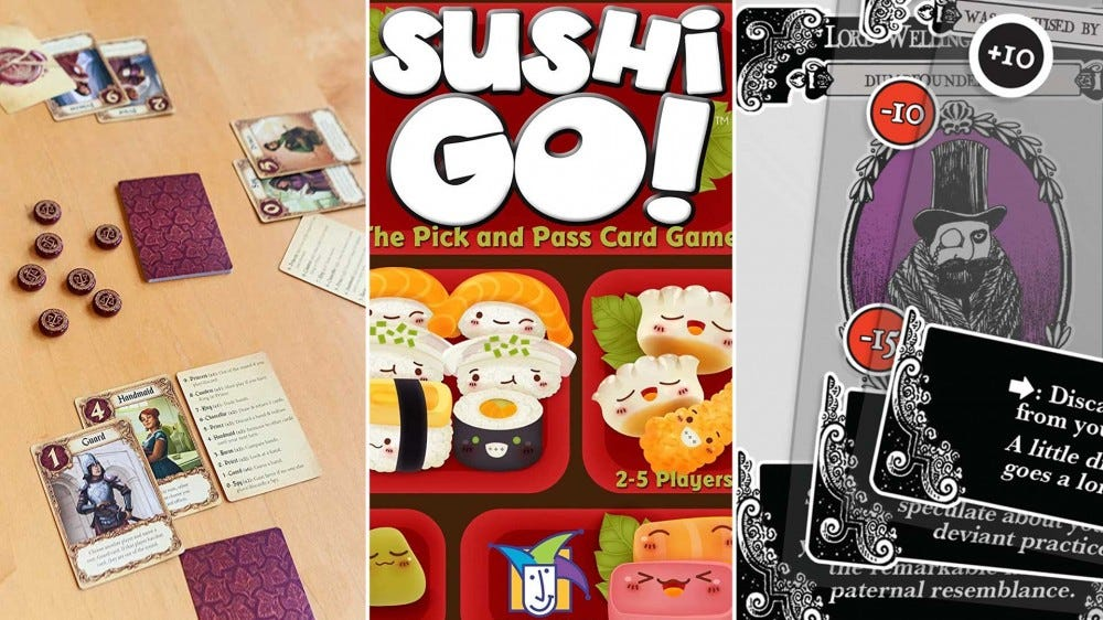 Games, from left to right, 'Love Letters', 'Sushi Go', and 'Gloom'.