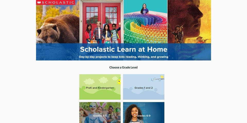 The Scholastic Learn at Home website.