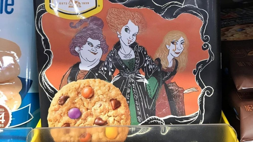 A pack of Nestle Toll House break and bake cookies with the Hocus Pocus sisters