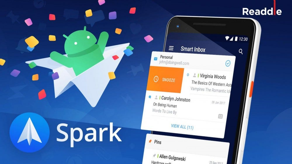 An ad for Spark, showing the app on a smartphone.