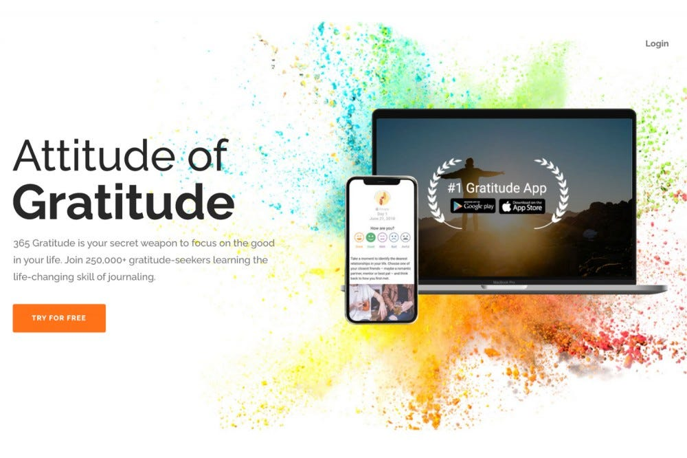 The splash page for the 365 Gratitude app.