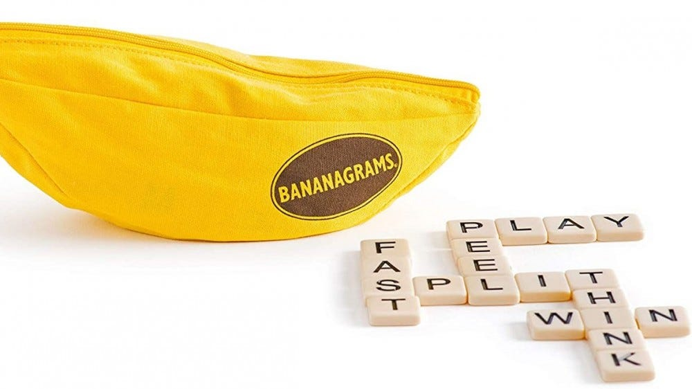 Bananagrams bag and tiles.