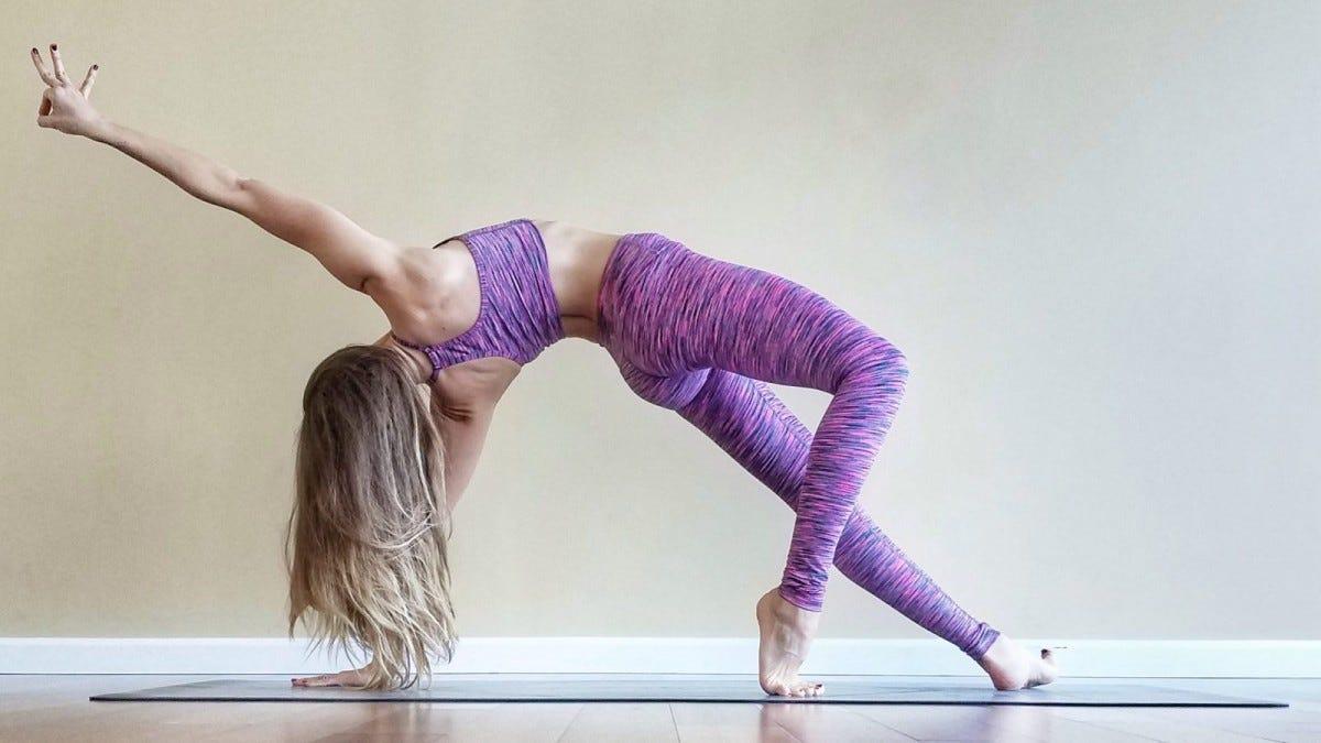 woman doing yoga in the studio