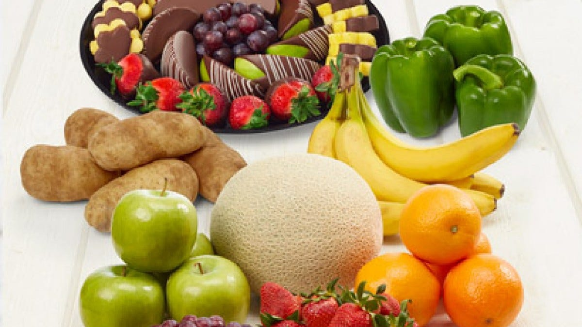 Fruits, veggies, and chocolates from Edible Arrangements.