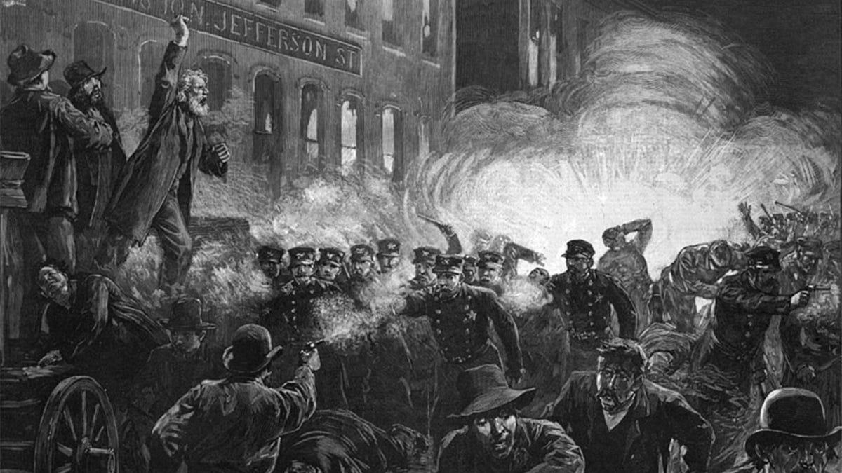 A sketch depicting the Haymarket Riots of 1886.