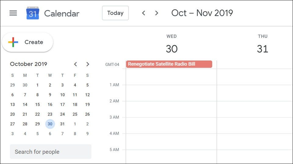"A Google Calendar reminder to ""Renegotiate Satellite Radio Bill."""