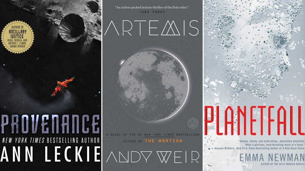 From left to right: the book covers of 'Provenance', 'Artemis', and 'Planetfall'.