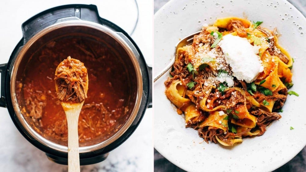 A two-fold image including beef ragu on a wooden spoon, recently scooped out of the instant pot (on the left) and fresh beef ragu, topped with a dollop of ricotta on top (on the right).