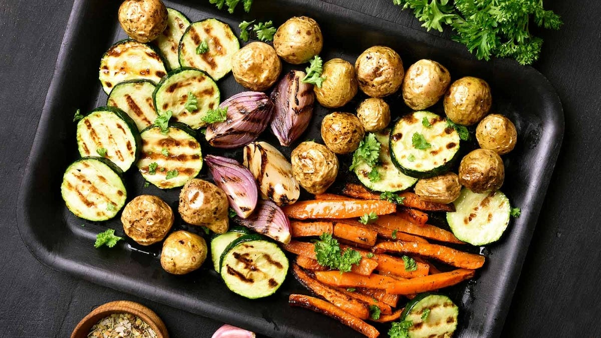 A tray of roasted vegetables.