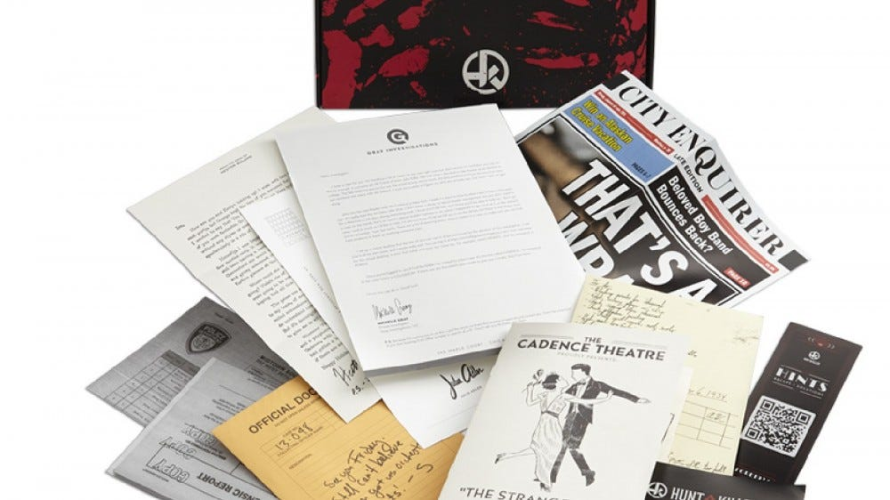 Contents of a mystery box from Hunt a Killer.