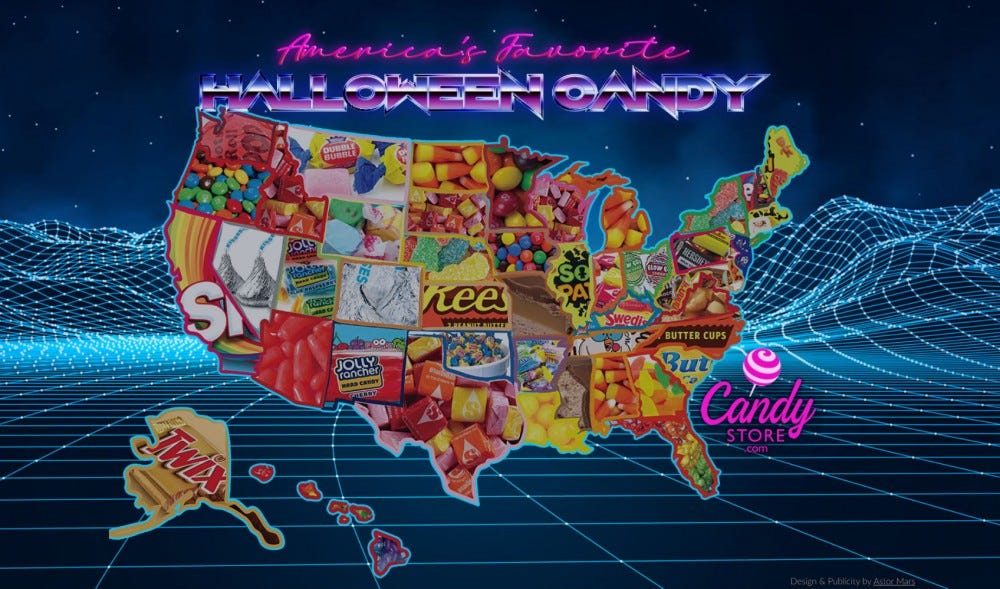 A map of the most popular candies by state.