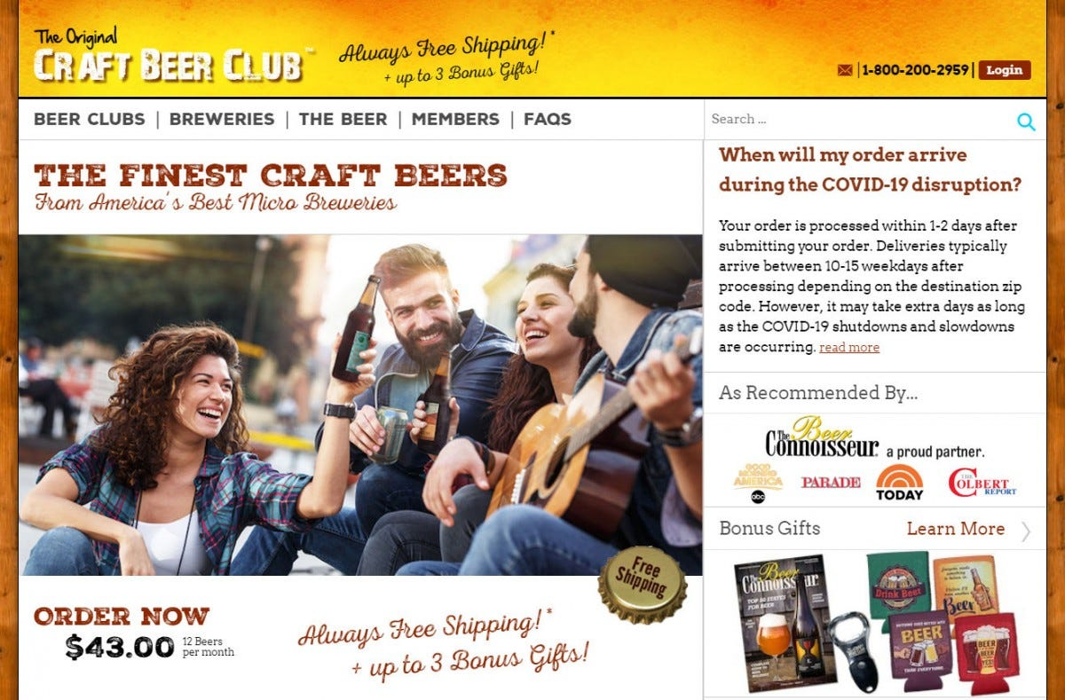 The Craft Beer Club website.