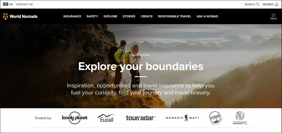 World Nomads insurance homepage.