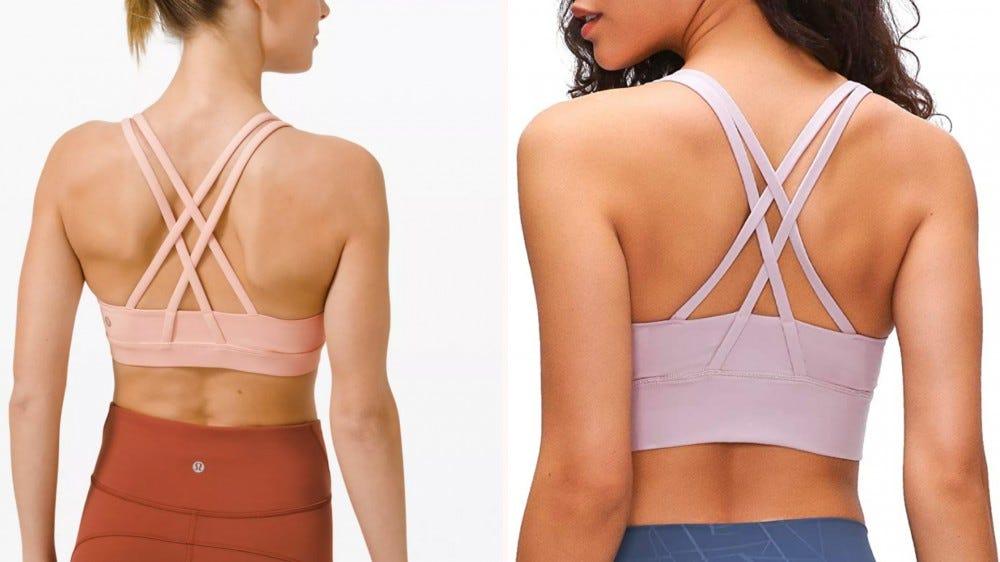 two strappy sports bras side by side