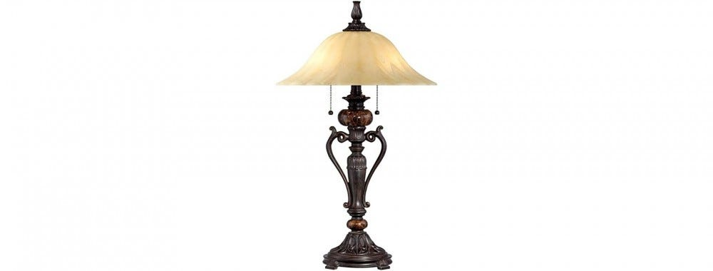 An antique-style bronze table lamp with a glass shade.