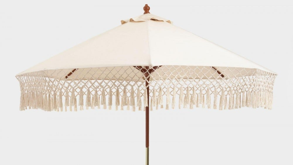 World Market Natural Umbrella Canopy with Fringe