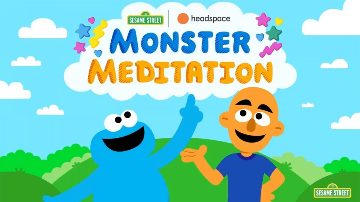 """Cookie Monster and Andy Puddicombe in the """"Monster Meditation"""" ad."""