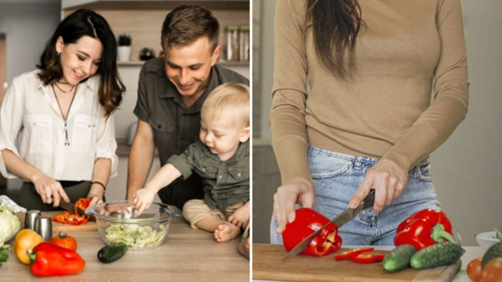 Two images: the left image is of a family cooking together and the right image is a woman slicing red pepper on a greener chef's cutting board.