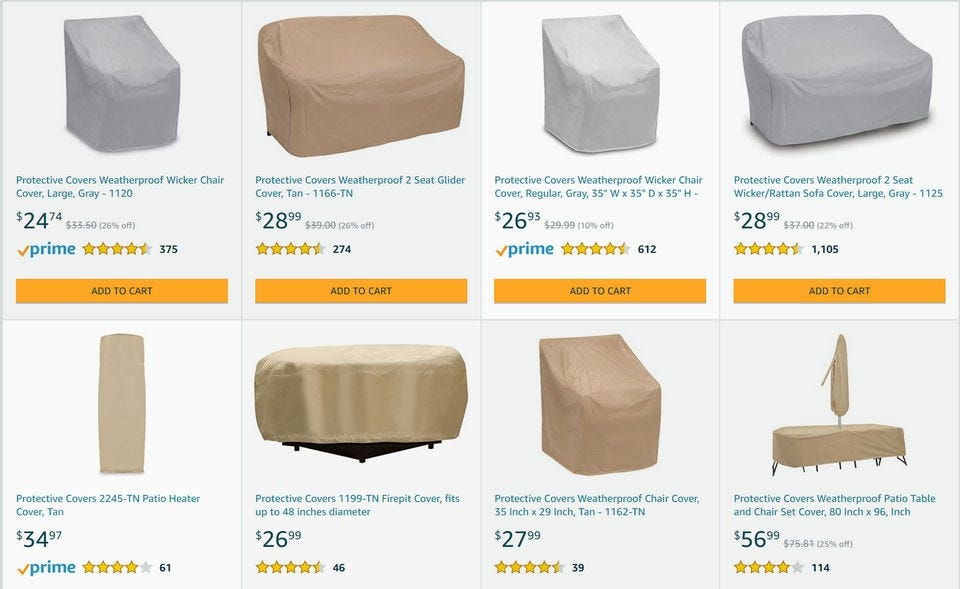 Examples of different Protective Covers brand patio furniture covers.