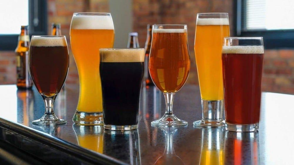 Craft brew beer glass set
